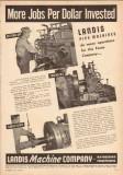 Landis Machine Company 1950 Vintage Ad Pipe Threading Cutting-Off Jobs