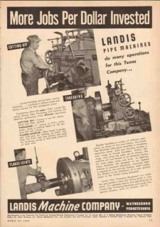 Landis Machine Company 1950 Vintage Ad Pipe Threading Cutting-Off Jobs