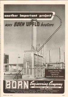 Born Engineering Company 1950 Vintage Ad Oil Levelland Gasoline Plant