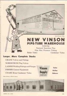 Vinson Supply Company 1950 Vintage Ad Oil Pipe-Tube Warehouse Tulsa OK