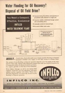 Infilco Inc 1950 Vintage Ad Oil Recovery Water Flooding Brine