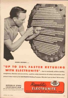 Republic Steel Corp 1950 Vintage Ad Oil Pipe Electrunite Fast Retubing