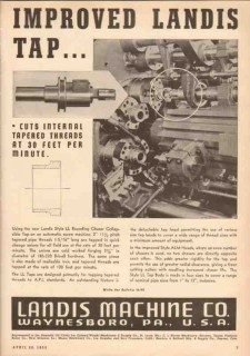 Landis Machine Company 1950 Vintage Ad Improved Tap Receding Chaser