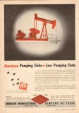 American Mfg Company TX 1950 Vintage Ad Oil Pumping Units Low Cost