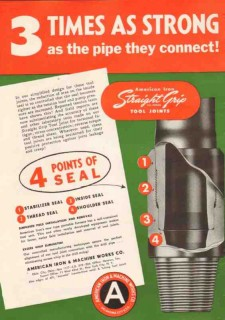 American Iron Machine Works 1950 Vintage Ad Strong Straight Grip Tool