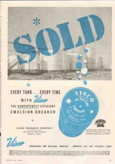 Visco Products Company 1950 Vintage Ad Oil Tank Emulsion Breaker Sold
