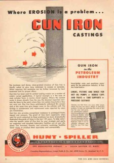 Hunt-Spiller Mfg Corp 1950 Vintage Ad Oil Gun Iron Casting Erosion