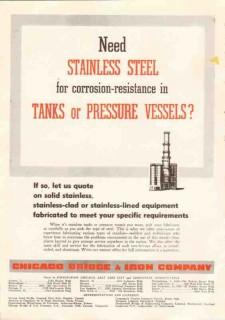 Chicago Bridge Iron Company 1950 Vintage Ad Oil Stainless Steel Tanks