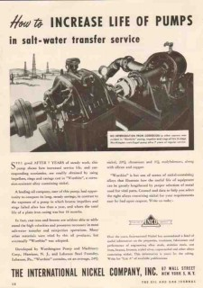 International Nickel Company 1950 Vintage Ad Pumps Salt-Water Transfer