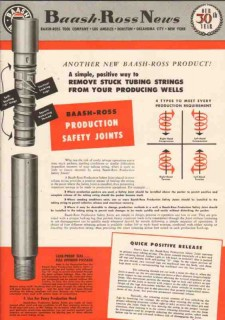 Baash-Ross Tool Company 1950 Vintage Ad Oil Production Safety Joints