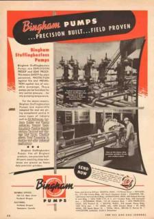 Bingham Pump Company 1950 Vintage Ad Stuffingboxless Precision Built