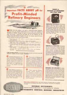 Beckman Instruments Inc 1950 Vintage Ad Oil Refinery Engineers Profit