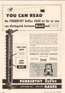 Penberthy Injector Company 1950 Vintage Ad Oil Reflex Gage Black White