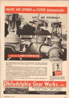 Philadelphia Gear Works 1950 Vintage Ad Oil Limitorque Automatic Valve