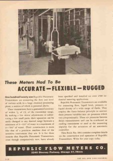 Republic Flow Meters Company 1950 Vintage Ad Oil Accurate Flexible