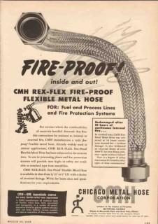 Chicago Metal Hose Corp 1950 Vintage Ad Oil Fire-Proof CMH Rex-Flex