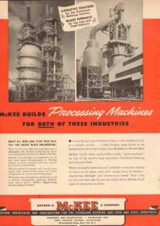 Arthur G McKee Company 1950 Vintage Ad Oil Processing Machine Cracker