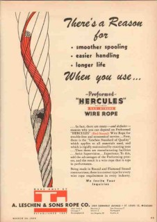 A Leschen Sons Rope Company 1950 Vintage Ad Spool Handle Longer Life