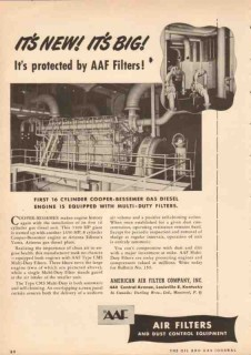 American Air Filter Company 1950 Vintage Ad 16-Cyl Gas Diesel Engine