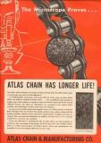 Atlas Chain Mfg Company 1950 Vintage Ad Microscope Proves Longer Life