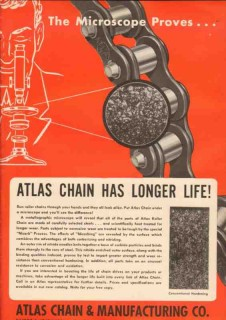 Atlas Chain Mfg Company 1950 Vintage Ad Microscope Proves Longer Life