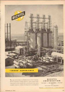 Bechtel Corp 1950 Vintage Ad Oil Petroleum Refinery Coker Experience