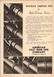American Cast Iron Pipe Company 1950 Vintage Ad Doublex Simplex Joints