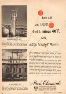 aluminum company of america 1950 activated alumina dried vintage ad