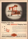 American Mfg Company TX 1950 Vintage Ad Oil Pumping Costs Less Units