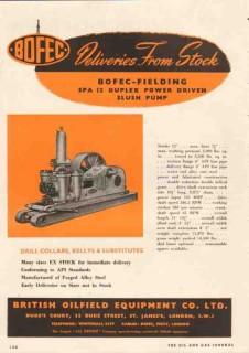 British Oilfield Equipment Company 1950 Vintage Ad Power Slush Pump