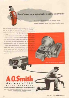 A O Smith Corp 1950 Vintage Ad Automatic Engine Controller Driven Pump