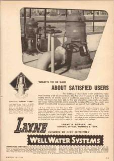 Layne Bowler Inc 1950 Vintage Ad Oil Vertical Turbine Pump Satisfied