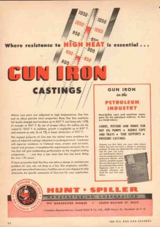 Hunt-Spiller Mfg Corp 1950 Vintage Ad Oil Gun Iron Castings High Heat
