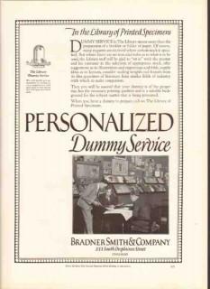 bradner smith company 1926 dummy service printed specimens vintage ad