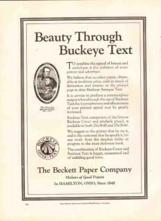 beckett paper company 1926 beauty through buckeye text vintage ad