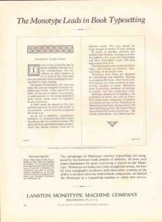 lanston monotype machine company 1926 book typesetting vintage ad