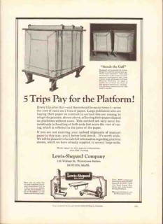 lewis-shepard company 1926 platform jack-lifts stackers vintage ad