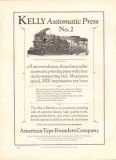 american type founders company 1926 kelly automatic press vintage ad
