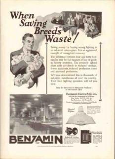 benjamin electric mfg company 1926 saving wrong lighting vintage ad