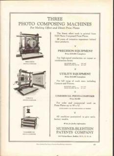 huebner-bleistein patents company 1926 photo-composing vintage ad