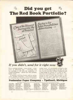 peninsular paper company 1926 red book portfolio printing vintage ad