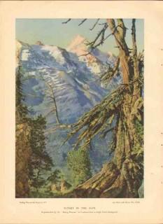 sadag chromatic gravure company 1926 sunset in the alps vintage print