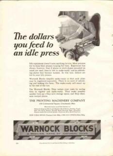 printing machinery company 1926 idle press warnock blocks vintage ad