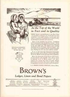 l l brown paper company 1926 polar expedition linen ledger vintage ad