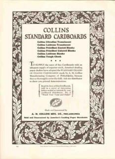 a m collins mfg company 1926 standard cardboards coated vintage ad