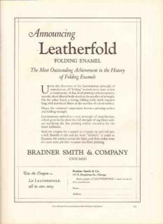 bradner smith company 1926 leatherford folding enamel print vintage ad
