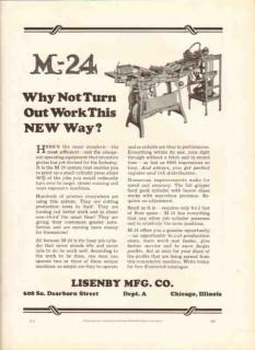 lisenby mfg company 1926 m-24 system cylinder press printer vintage ad
