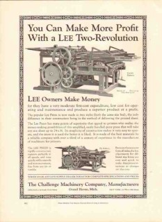 challenge machinery company 1926 lee two-revolution press vintage ad