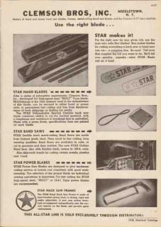 Clemson Bros Inc 1948 Vintage Catalog Saw Blades Star Hand Hack Band