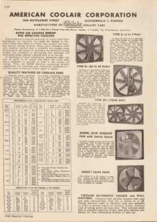 American Coolair Corp 1948 Vintage Catalog Exhaust Fans Air Change